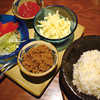 Stone-roasted taco rice made with Japan-grown rice
